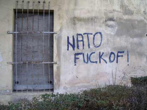 Pintada en una casa en Trebinje, una ciudad serbia al sur de Bosnia y Herzegovina