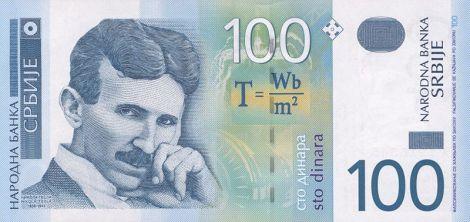 Billete de 100 dinares serbios con la efigie de Nikola Tesla