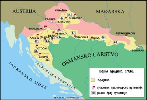 Mapa de la Krajina hacia 1750
