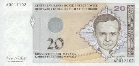20 KM - FBiH - Anverso - Antun Branko Šimić