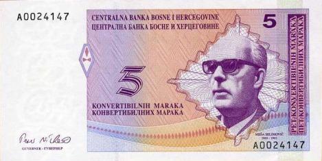 5 KM - FBiH - Anverso - Meša Selimović