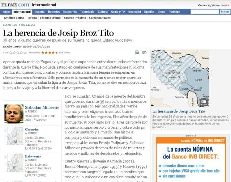 El artículo de Ramón Lobo en El País es revelador: la primera información relacionada es Slobodan Milosevic, el mayor pirómano de Yugoslavia