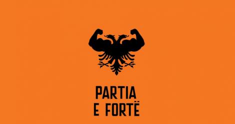 El emblema del Partido Fuerte de Kosovo transforma el águila bicéfala albanesa.